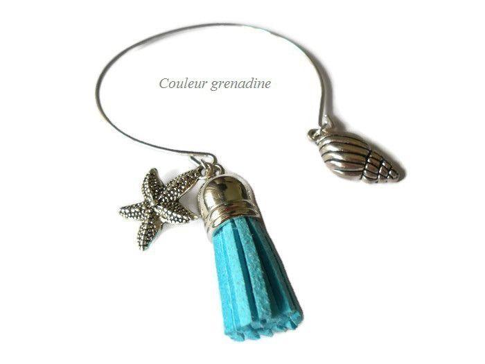Bracelet jonc thème marin coquillage pompon étoile de mer : Bracelet par couleur-grenadine33