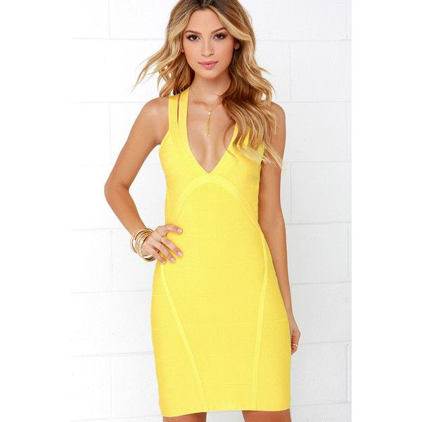 One Woman Band-age Yellow Bodycon Dress ($97) ❤ liked on Polyvore featuring dresses, yellow, yellow bodycon dress, wow couture dresses, body conscious dress, yellow body con dress and open back cocktail dress