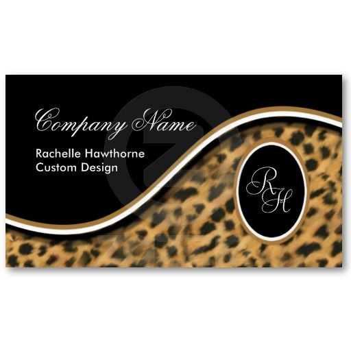 27 best leopard business cards images on pinterest business leopard print monogram s business cards black reheart Gallery