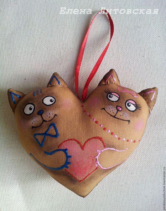 Подарки для влюбленных ручной работы. Ярмарка Мастеров - ручная работа. Купить Сердце - пара котиков.. Handmade. Коричневый, ароматный подарок