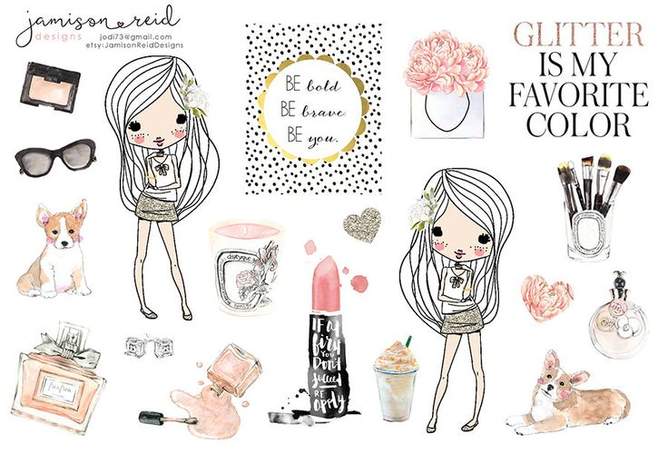Fashionista sticker sheet for planners ECLP by JamisonReidDesigns