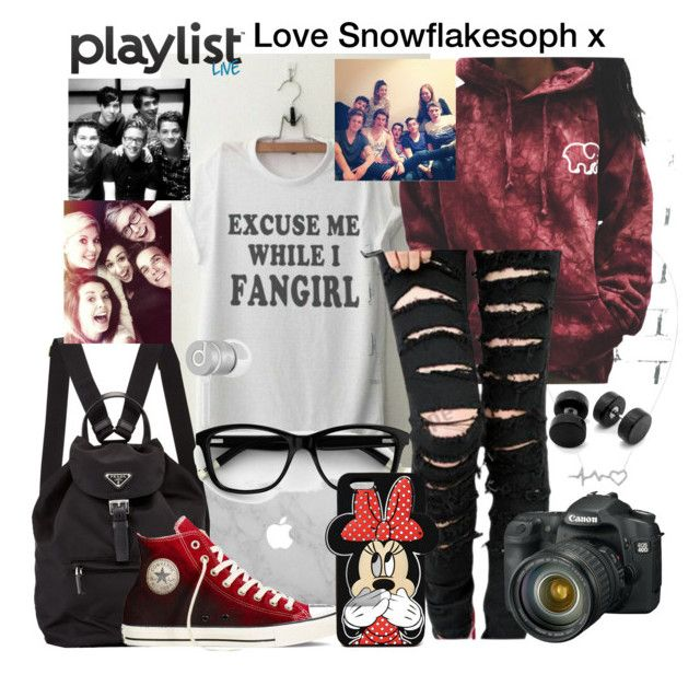 """""""Playlist live 2016"""" by snowflakesoph ❤ liked on Polyvore featuring Prada, Converse, Forever 21 and Beats by Dr. Dre"""