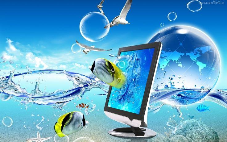 Grafika, 4D, Efekt, Woda, Monitor