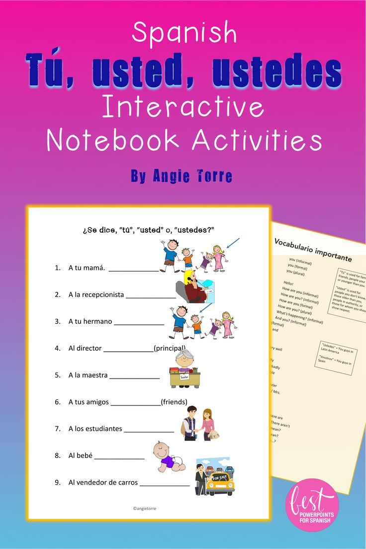 Spanish Tu Usted Ustedes Interactive Notebook Activities Distance Learning Spanish Interactive Notebook Activities Interactive Notebook Activities Instructional Resources