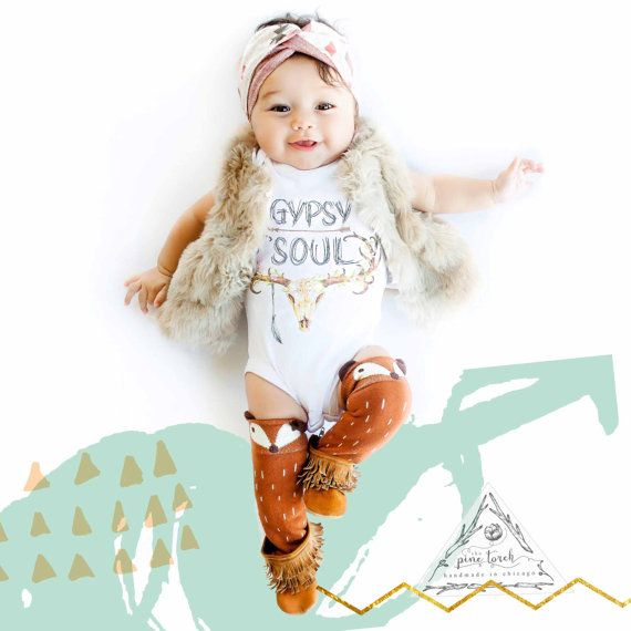 GYPSY SOUL skull antlers feather baby Onesie® by ThePineTorch