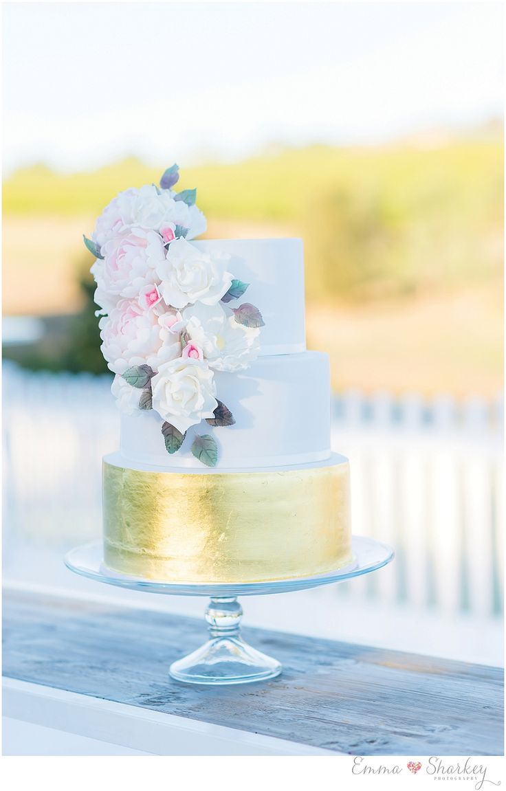 Gold, White and Pastel Pink wedding Cake  Perfect for an outdoor wedding
