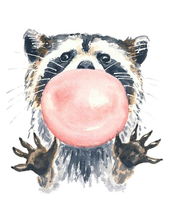 Raccoon Waterolor PRINT - 5x7 Illustration Print, Raccoon Watercolour, Bubble Gum, Nursery Art