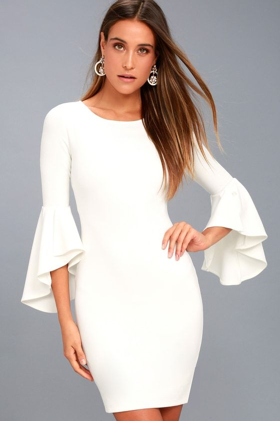 1f29f2c7159 Gimme Some Flair White Flounce Sleeve Bodycon Dress in 2018 ...