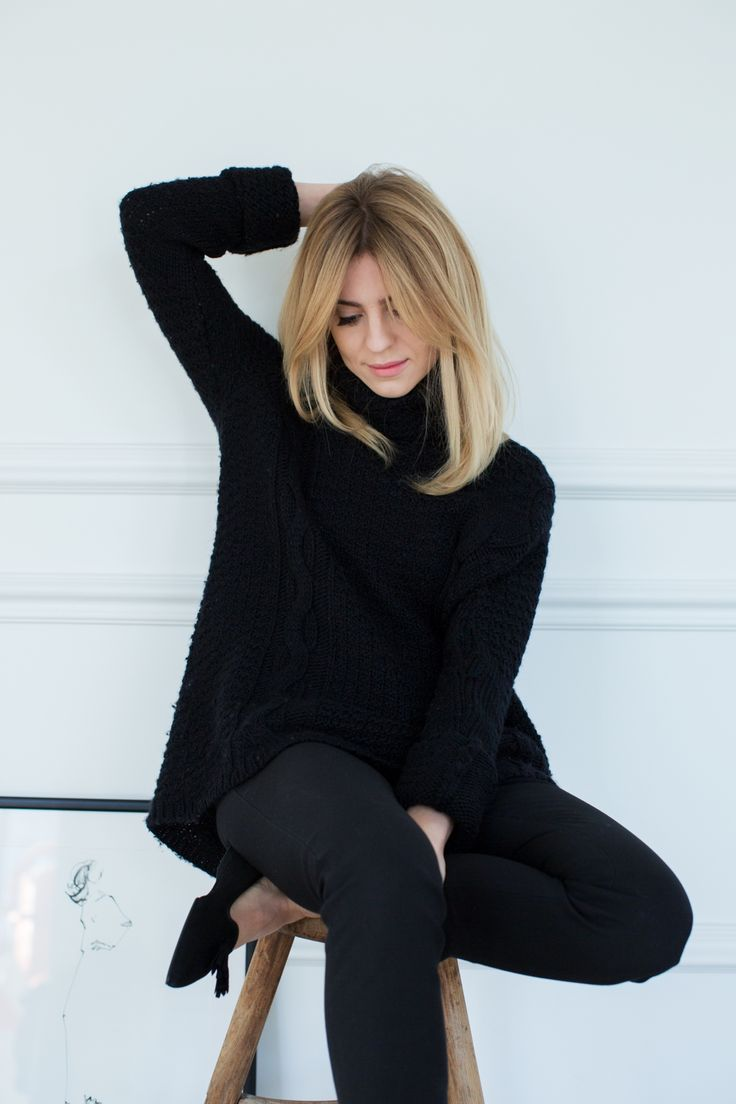 All black work outfit for winter
