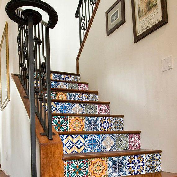 Fliesenaufkleber Treppe mit Portugiesisch Fliesen  von WANDTATTOOS auf DaWanda.com