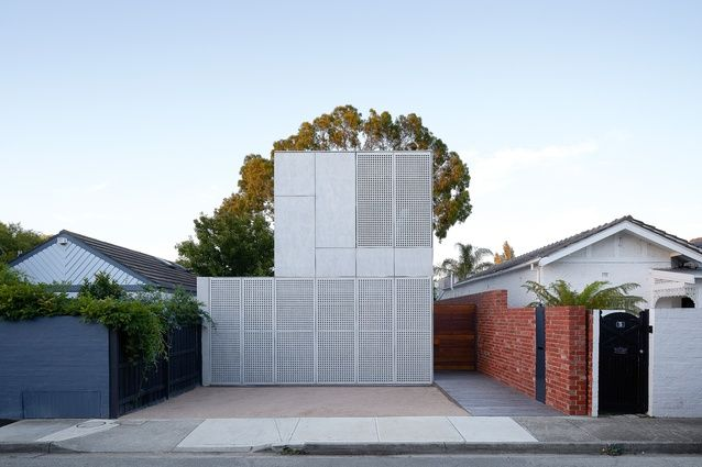 The facade, clad entirely in a sealed fibre cement sheet, takes colour inspiration from the large silver gum behind it.