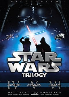"""Star Wars Trilogy (DVD)--On its surface, George Lucas's story is a rollicking and humorous space fantasy that owes debts to more influences than one can count on two hands, but filmgoers became entranced by its basic struggle of good vs. evil """"a long time ago, in a galaxy far, far away,"""" its dazzling special effects, and a mythology of Jedi knights, the Force, and droids."""