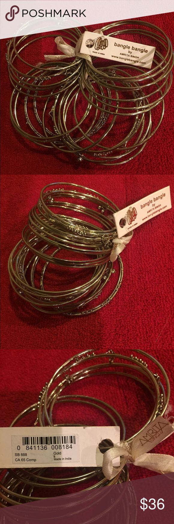 "NWT Amrita Singh ""Mumbai"" Bangle Set New with tags, never worn, Amrita Singh ""Mumbai"" bangle bracelet set - 24 pieces! Size 8, gold (though it's a nice, subdued gold - in the last photo you can see my silver ring next to the bracelets for comparison). Comes with dustbag! Currently $60 on Amrita Singh website. Amrita Singh Jewelry"