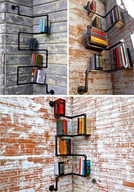 inside corner pipe shelves