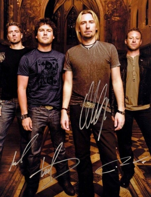 Nickelback Group Signed 8x10 Autograph Photo - Chad Kroeger, Ryan Peake, Mike Kroeger and Daniel Adair - Certificate of Authenticity Included - Authentic Hand-Signed Autograph - $125 - #celebrity #gift #shopping