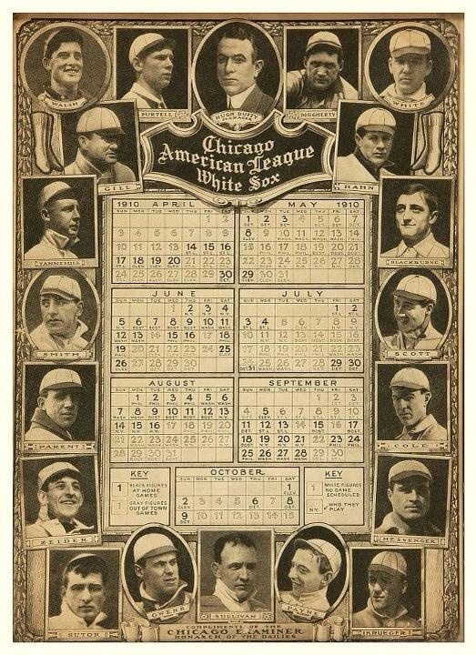 SCHEDULE: 1910 White Sox schedule with full calendars and player photos. The first game in new White Sox (Comiskey) Park was July 1, 1910, a 2-0 loss to St. Louis.