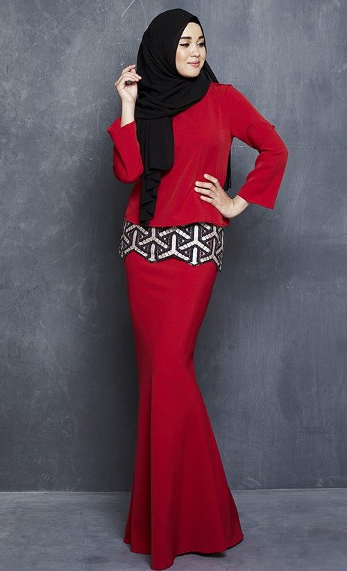 Kenangan Modern Kurung with Embroidered Lace in Red