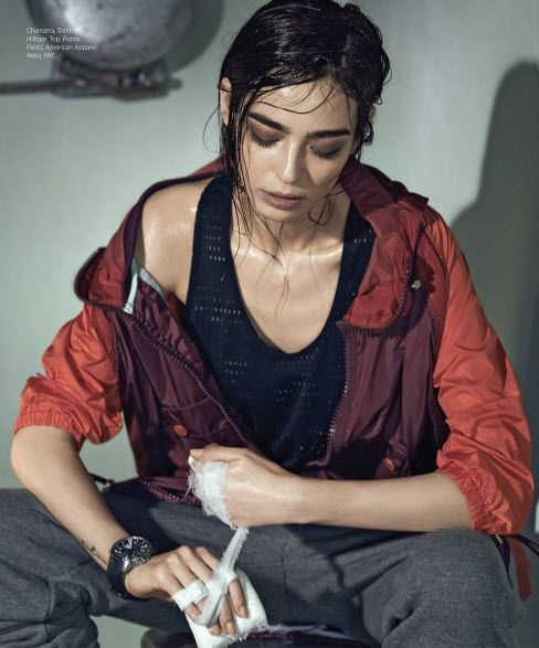 Cristina Piccone plays a kick-boxer with a glam side. Capturer by Hans Neumann