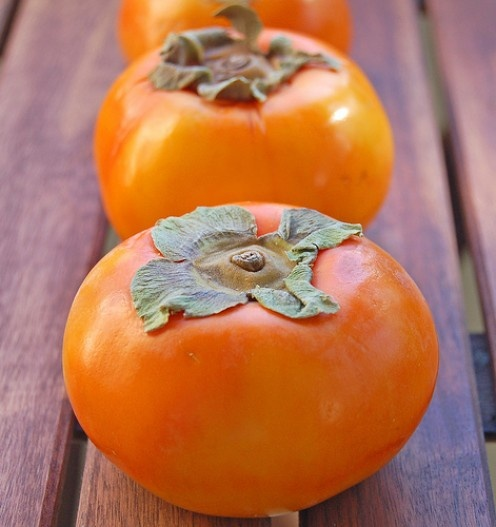 """Fresh-picked Fuyu Persimmon - Japanese Persimmons (or """"kaki""""): These golden jewels come in several varieties, shapes, colors, and sizes. The rounded, crunchier Fuyu persimmon is squat like a tomato and makes a great snack (eat it like an apple). Fuyus add bright orange color and sweetness to an all-green salad. http://wp.me/py178-1kY #fruit"""