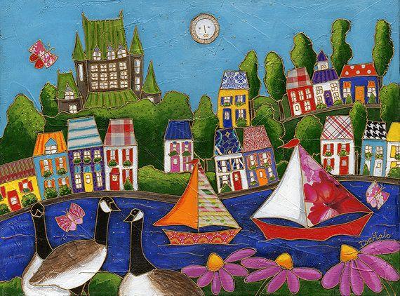 Les 3 bernaches au bord du fleuve - paysage art naïf - acrylique sur toile par Isabelle Malo