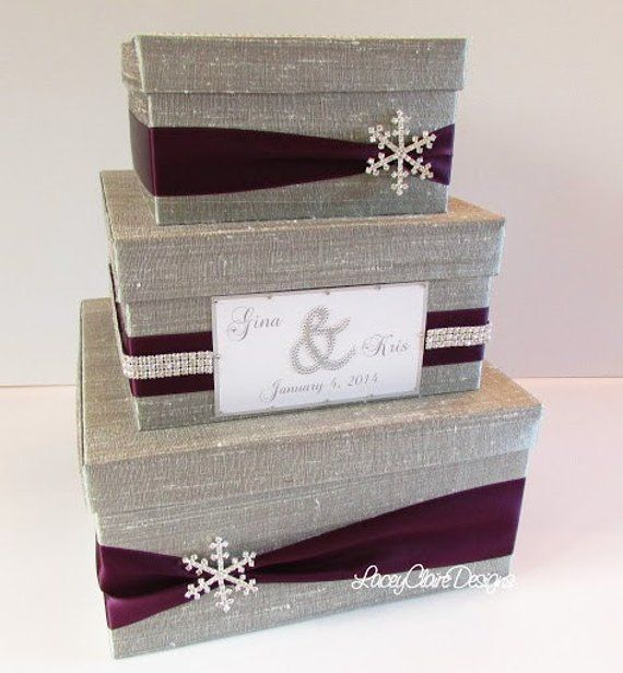 Wedding Card Box Winter Wedding Silver And Eggplant Card Box Wedding Winter Wedding Card Wedding Cards