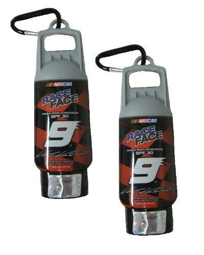Nascar Race Face Face & Body Sunscreen Lotion Keychain, SPF 30, (#9), 2 PACK by Nascar. $4.95. The mini bottle will attach to your keychain or belt loop with the attached carabiner clip,. SPF 30 face & body sunscreen.. Nascar Theme Designs. Number 9.. Water/ sweat resistant. UVA & UVB protection.. Includes 2 key chains! 2 Fl Oz (59 mL) -Each!