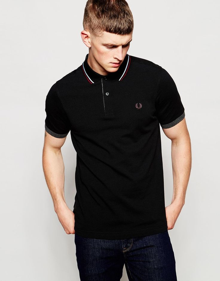 Fred Perry Polo Shirt with Double Collar in Black