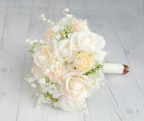 Cream Bouquet, Rose Bouquet, Champagne Bouquet, Silk Rose Bouquet, Wild Flower Bouquet, Rustic Bouqu