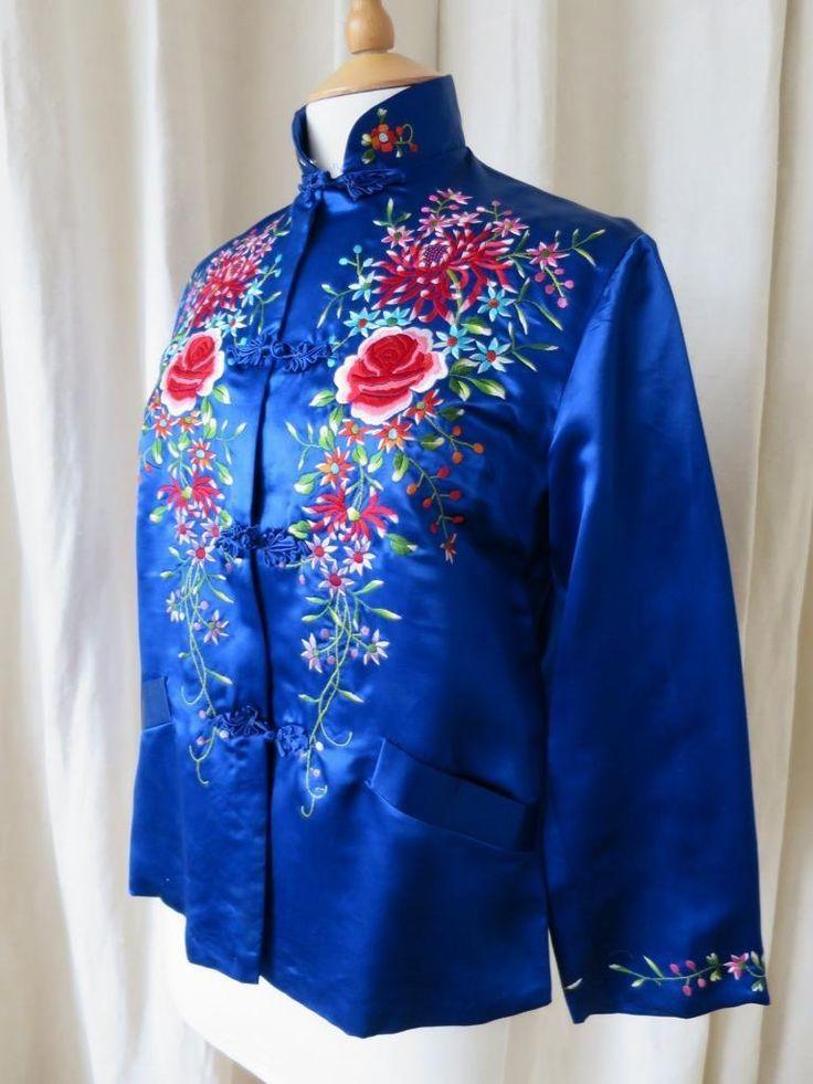 Gorgeous Vintage Blue Silk Chinese Jacket- Floral Hand Embroidery in Kleidung & Accessoires, Vintage-Mode, Vintage-Mode für Damen | eBay!
