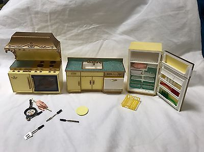 Vintage Ideal Petite Princess Doll House Furniture Kitchen Counter Top Sink Stov