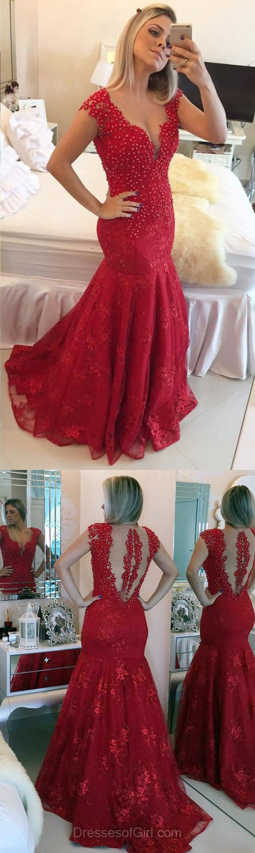 Long Prom Dresses, Lace Prom Dress, Mermaid Evening Gowns, V Neck Party Dresses, Red Formal Dresses