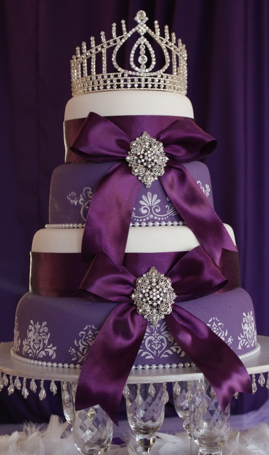 Wedding Cake Purple Crown Topper With Bow Detail