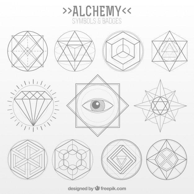 Coleção do símbolo da alquimia no estilo linear Vetor grátis                                                                                                                                                                                 Mais