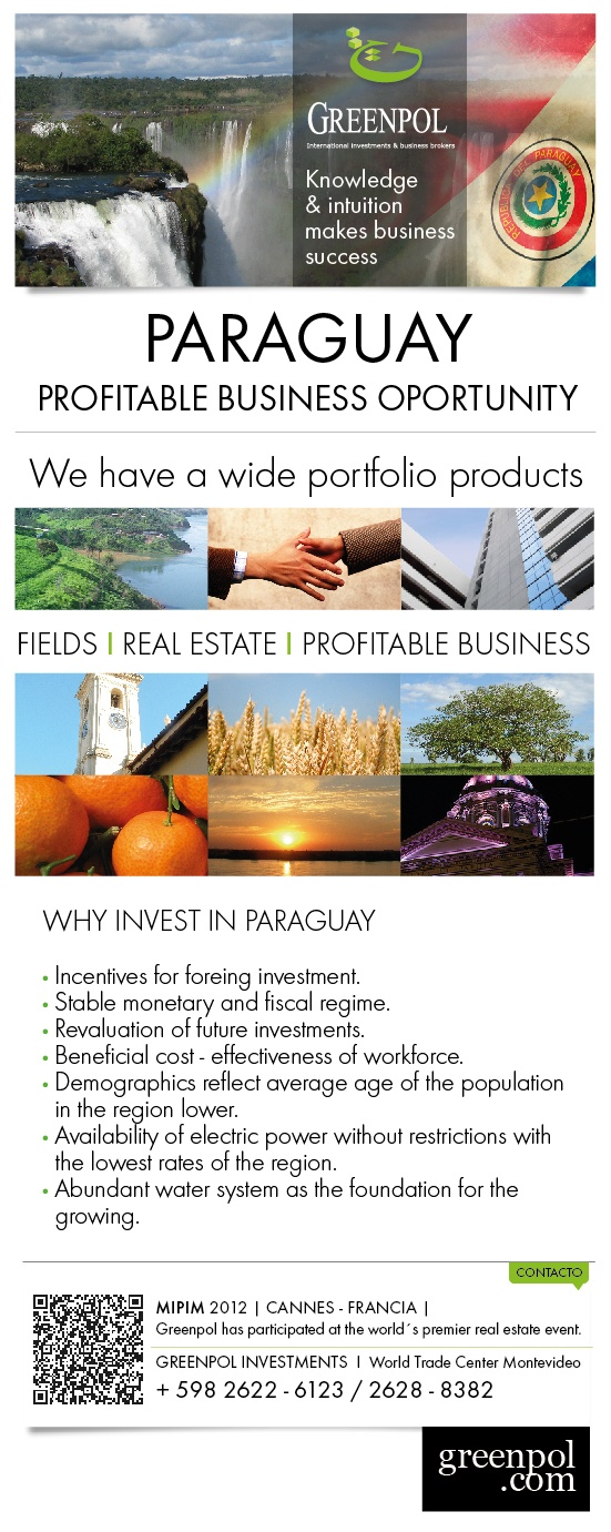 Profitable businesses and investments in Paraguay.  Unique opportunities.  Contact us at www.greenpol.com through our live chat.: Www Greenpol Com, Profit Business, Unique Opportunities, Living Chat