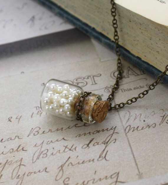 bottle necklace with pearls