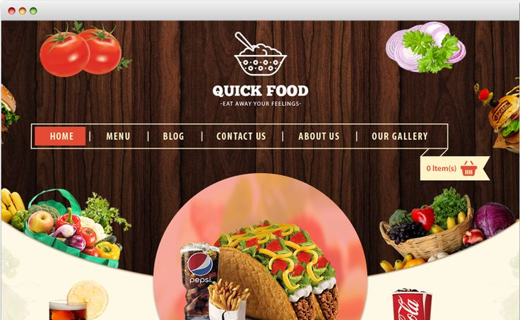Quickfood - Responsive cs-cart template Bugtreat helps to create your own restaurant supply store online.