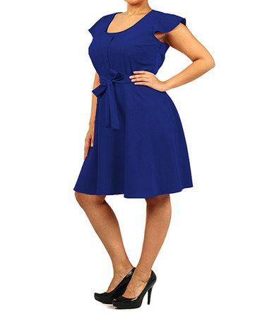 Another great find on #zulily! Royal Blue Flutter-Sleeve Dress - Plus #zulilyfinds