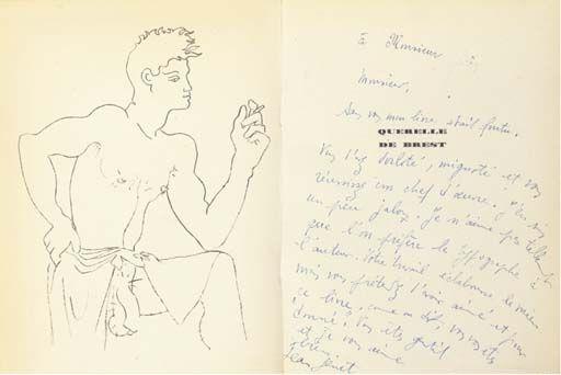 Jean Cocteau:drawing in the book Querelle de Brest by Jean Genet