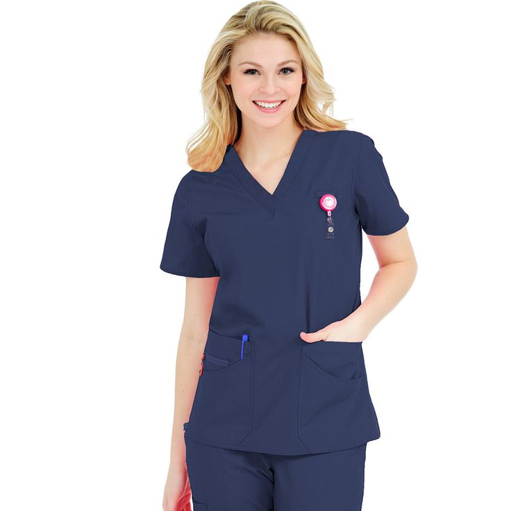 Peaches Daisy Scrub Top - 4240 | Scrubs  We love this top with just the right amount of stretch, loads of pockets and cute pink ID holder !