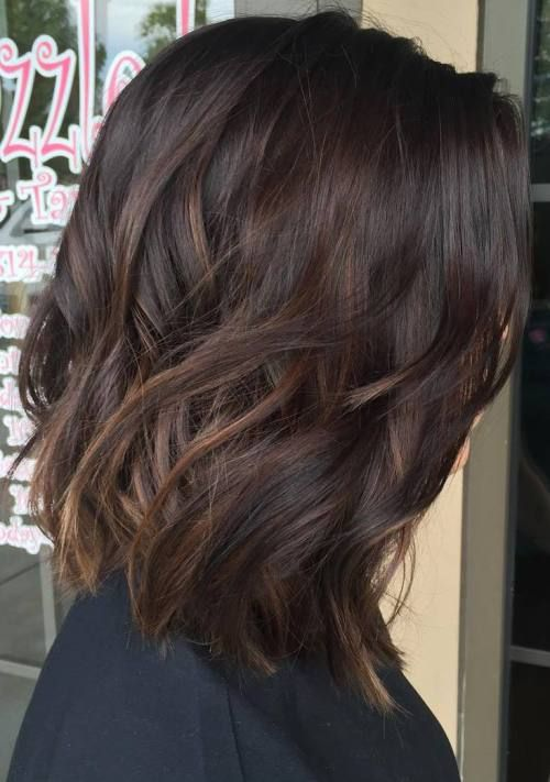 #9: Subtle Balayage Highlights for Dark Brown Hair Source A modern textured bob worn effortlessly in loose tousled waves always wins from subtle touches of color called to enhance the texture and dimension of your medium length hair when you wear it undone. PREV9 of 60NEXT