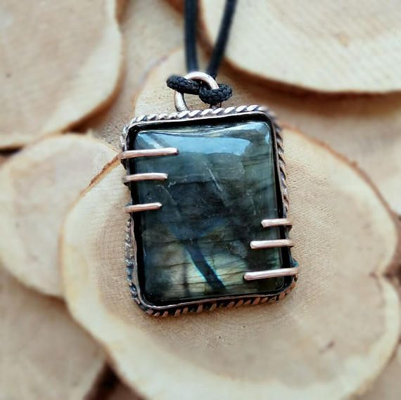 Copper men wire wrapped labradorite necklace. Minimal mens