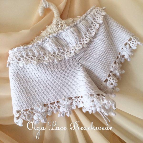 Купить Вязаные шорты от Olga Lace - вязаные шорты, пляжные шорты, белые шорты, шортики