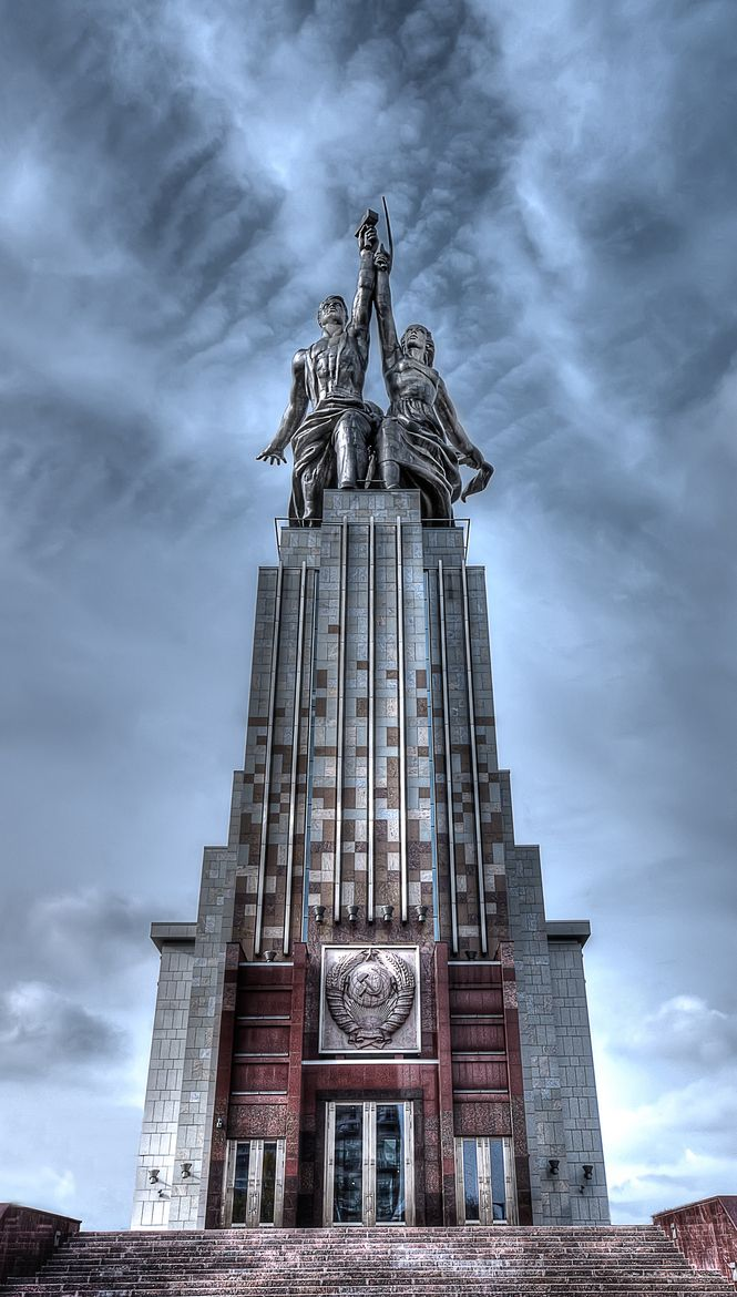 Worker and kolkhoz woman statue a soviet monument created for Architecture urss