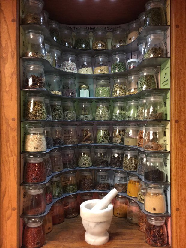 Kitchen Geeks! Make a Periodic Table of Spices Rack. Or if you aren't feeling the periodic table of elements theme, it could definitely be modified into your at home potions cupboard for a Harry Potter kitchen.