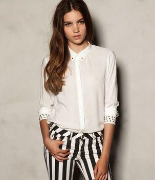 ST221 New fashion womens' OL Classic White blouses elegant metal stud rivet sleeve collar casual shirt slim tops designer blouse