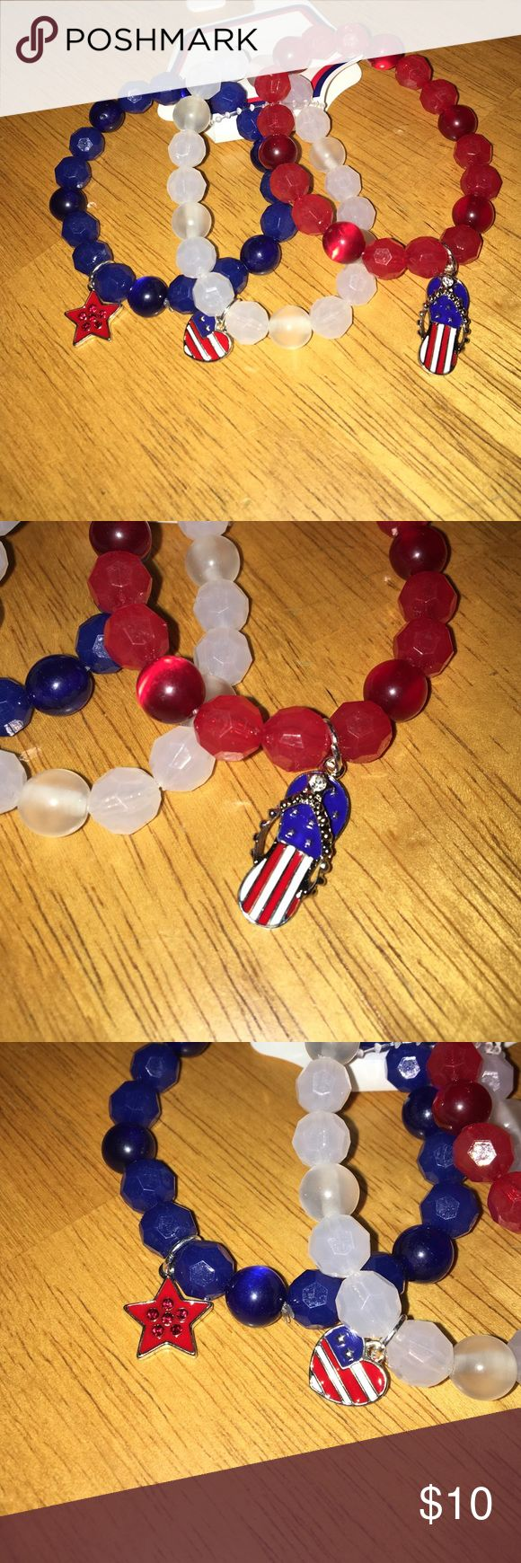 Set of 3 red, white, and blue bracelets American flag 🇺🇸 flip flop, heart, and star charms on red, white, and blue beaded stretch bracelets. Set of 3. no brand Jewelry Bracelets