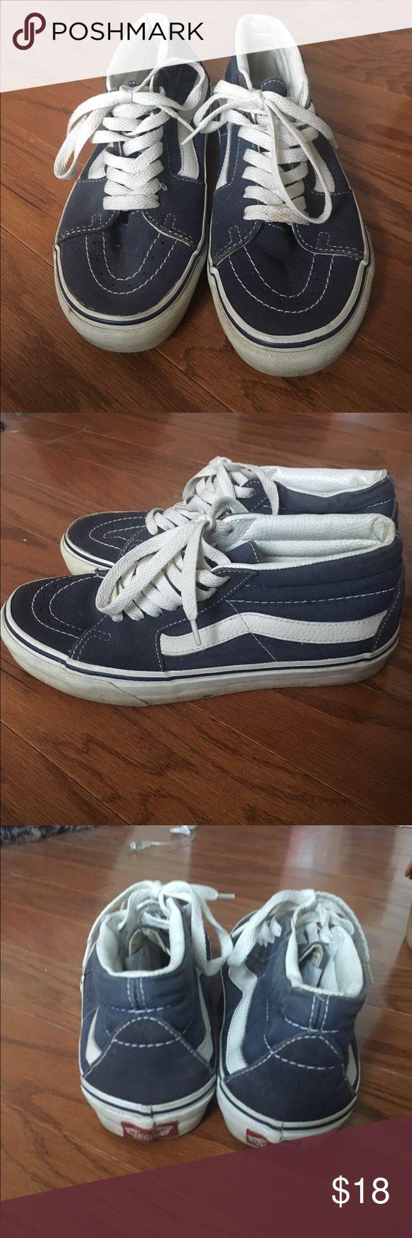 Vans sk8-mid top sneakers Blue suede sneakers Vans Shoes Sneakers