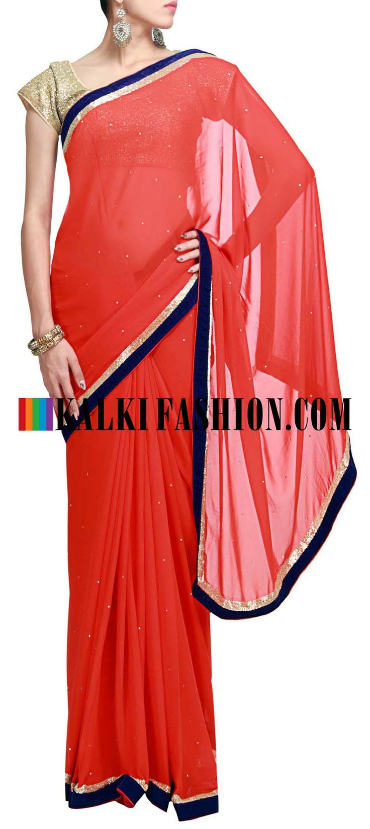 Buy Online from the link below. We ship worldwide (Free Shipping over US$100) http://www.kalkifashion.com/red-saree-featuring-with-contrast-blue-velvet-border-only-on-kalki.html Red saree featuring with contrast blue velvet border only on Kalki