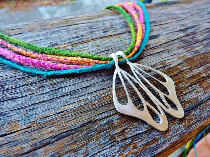 Handmade sterling silver butterfly wings on silk cords by Studio Swoon... love love love....