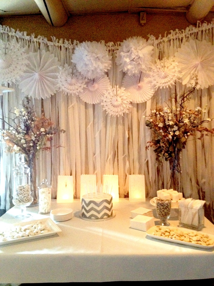 Pinwheels and fabric wall covering wedding ideas for Wedding party decorations